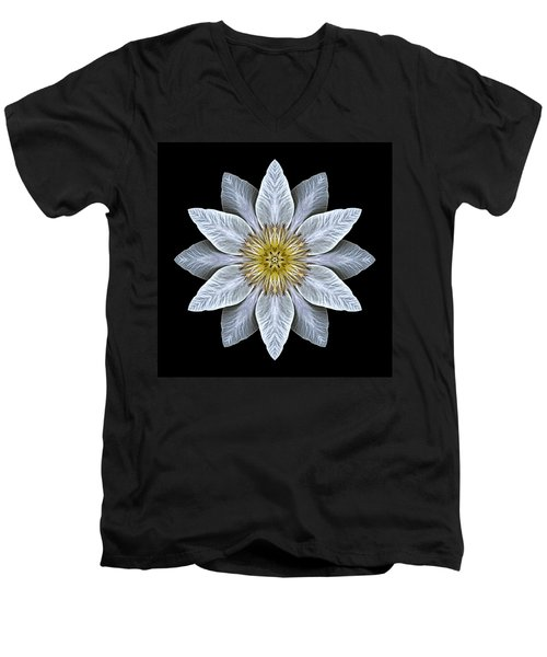 White Clematis Flower Mandala Men's V-Neck T-Shirt by David J Bookbinder