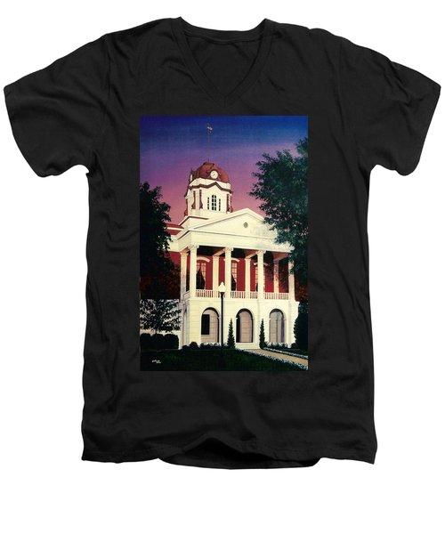 White County Courthouse Men's V-Neck T-Shirt