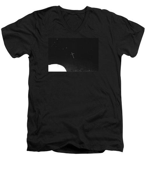 Men's V-Neck T-Shirt featuring the photograph White Cross by Steven Macanka