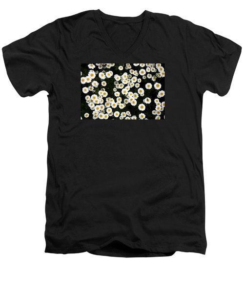 Men's V-Neck T-Shirt featuring the photograph White Daisys by Jean Walker