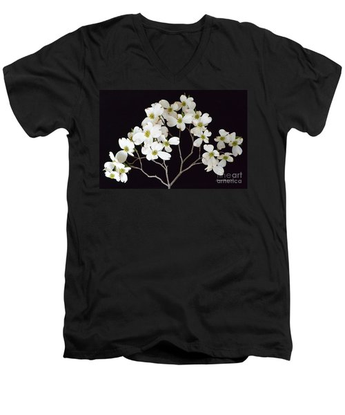 Men's V-Neck T-Shirt featuring the photograph White Dogwood Branch by Jeannie Rhode