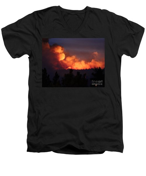Men's V-Neck T-Shirt featuring the photograph White Draw Fire First Night by Bill Gabbert