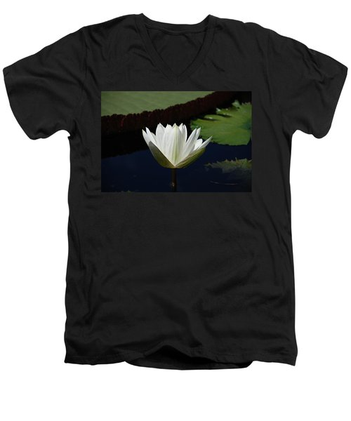 Men's V-Neck T-Shirt featuring the photograph White Flower Growing Out Of Lily Pond by Jennifer Ancker