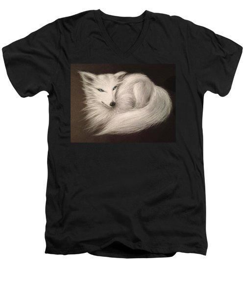 White Fox Men's V-Neck T-Shirt by Patricia Lintner