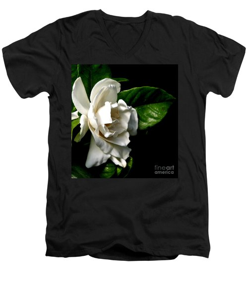 Men's V-Neck T-Shirt featuring the photograph White Gardenia by Rose Santuci-Sofranko
