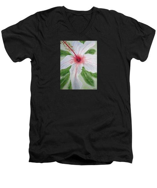 White Hibiscus Flower Men's V-Neck T-Shirt by Elvira Ingram