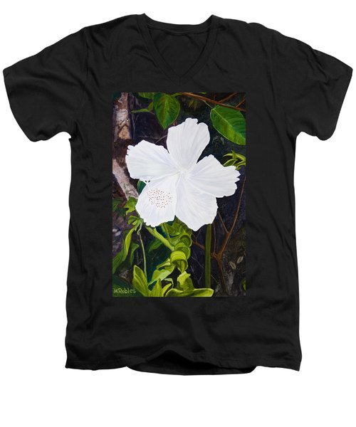 White Hibiscus Men's V-Neck T-Shirt by Mike Robles