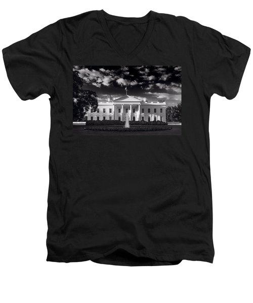 White House Sunrise B W Men's V-Neck T-Shirt by Steve Gadomski