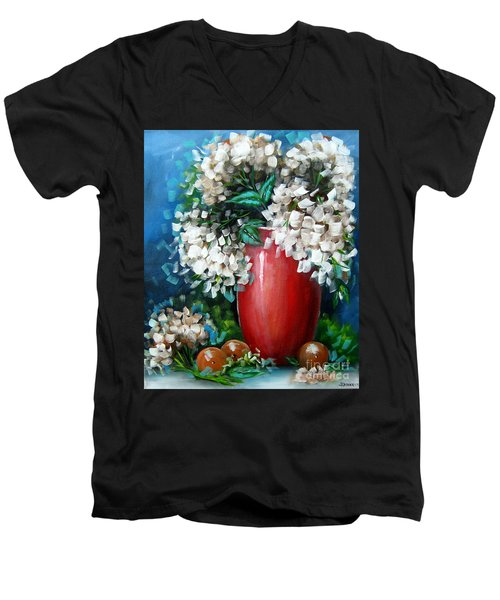 Men's V-Neck T-Shirt featuring the painting White Hydrangeas by Patrice Torrillo