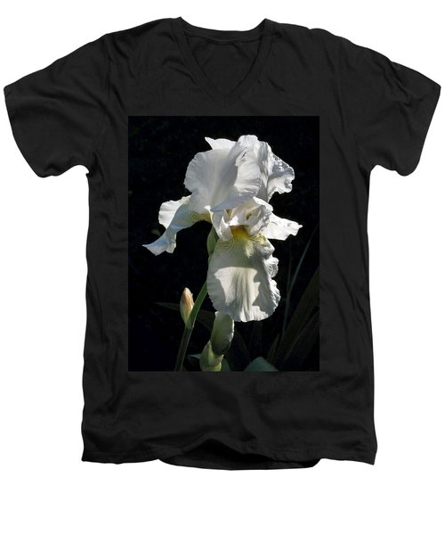 White Iris In The Morning Men's V-Neck T-Shirt