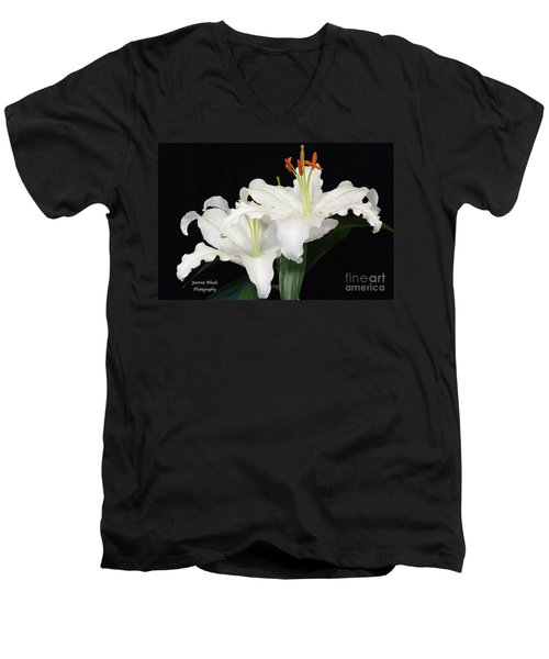 Men's V-Neck T-Shirt featuring the photograph White  Lilies by Jeannie Rhode