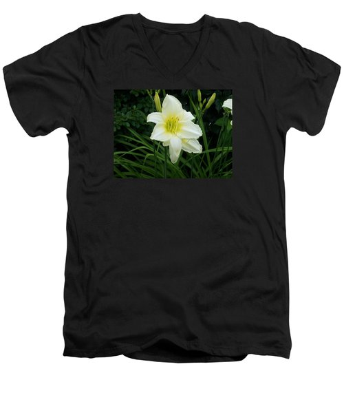 White Lily Men's V-Neck T-Shirt by Catherine Gagne