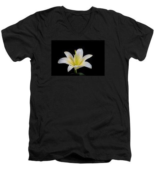 White Lily Men's V-Neck T-Shirt by Doug Long