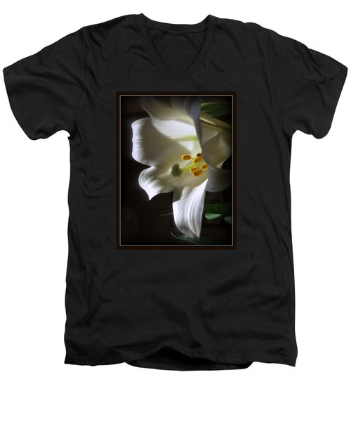 White Lily Men's V-Neck T-Shirt by Kay Novy