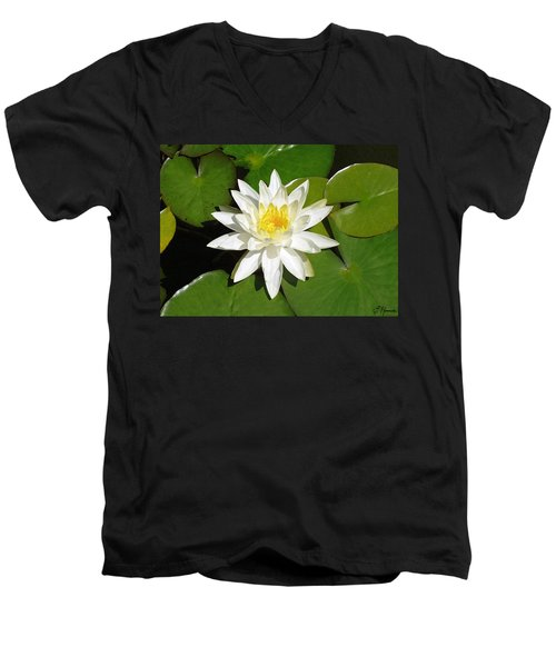 White Lotus 1 Men's V-Neck T-Shirt by Ellen Henneke