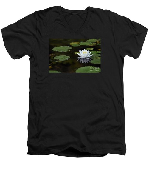 Men's V-Neck T-Shirt featuring the photograph White Lotus Lily Flower And Lily Pad by Glenn Gordon