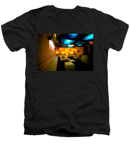 White Lounge Men's V-Neck T-Shirt by Melinda Ledsome