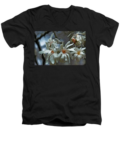 White Magnolia Men's V-Neck T-Shirt by Rowana Ray