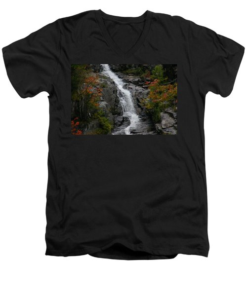 Men's V-Neck T-Shirt featuring the photograph White Mountain Water Fall  by Denyse Duhaime