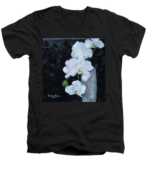 Men's V-Neck T-Shirt featuring the painting White Orchid by Judith Rhue