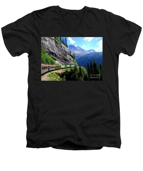 White Pass And Yukon Route Railway In Canada Men's V-Neck T-Shirt by Catherine Sherman
