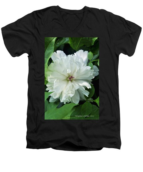 Men's V-Neck T-Shirt featuring the photograph White Peonese by Verana Stark