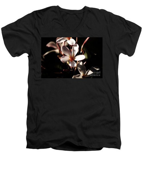 Men's V-Neck T-Shirt featuring the photograph White Plumeria by Angela DeFrias