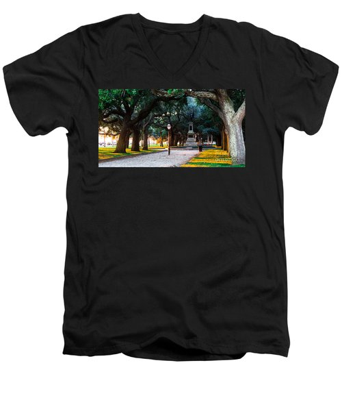 Men's V-Neck T-Shirt featuring the photograph White Point Garden Walkway Charleston Sc by Donnie Whitaker