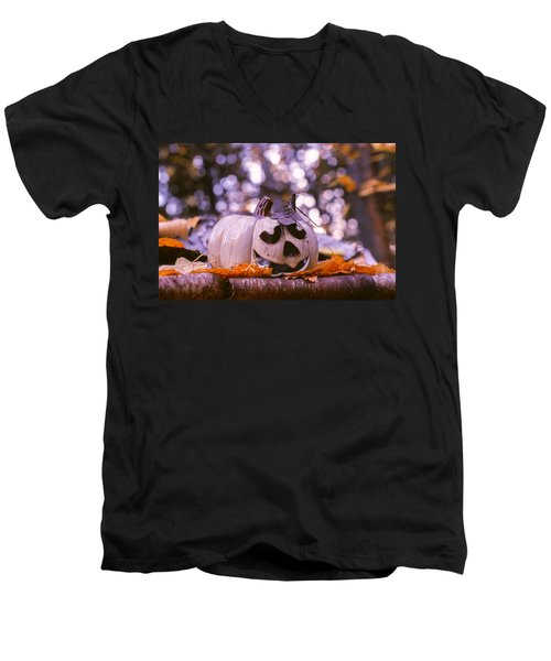 Men's V-Neck T-Shirt featuring the photograph White Pumpkin by Aaron Aldrich