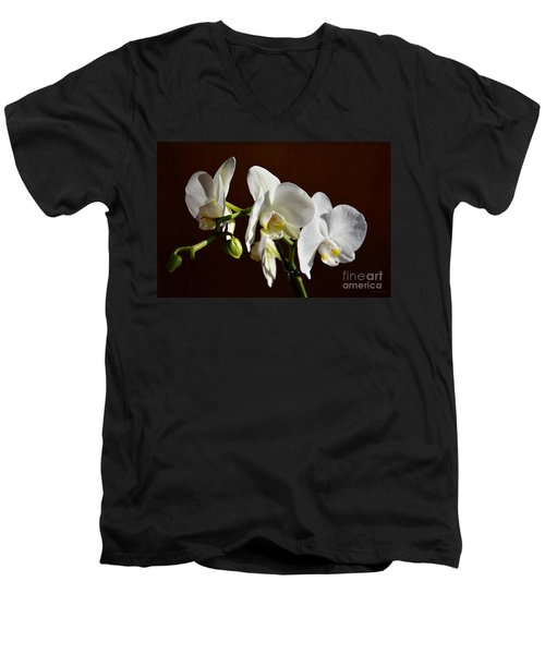 Men's V-Neck T-Shirt featuring the photograph White by Ramona Matei