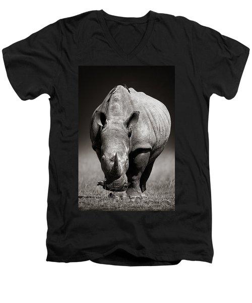 White Rhinoceros  In Due-tone Men's V-Neck T-Shirt