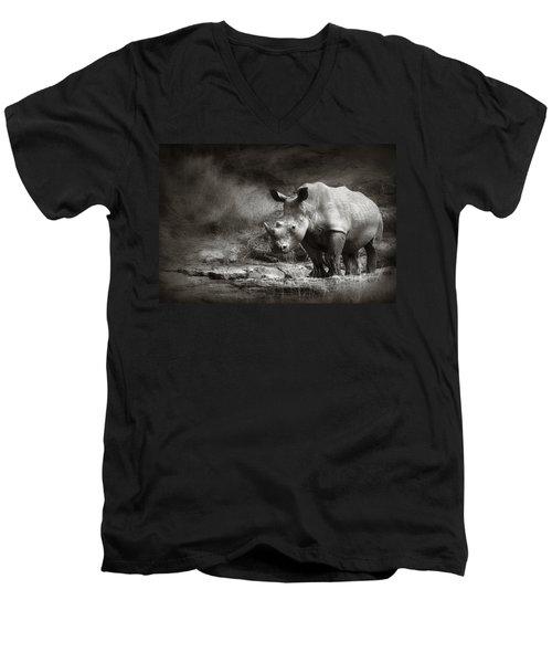 White Rhinoceros Men's V-Neck T-Shirt