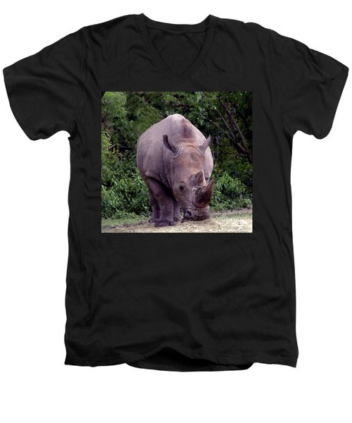 White Rhinoceros Water Coloring Men's V-Neck T-Shirt