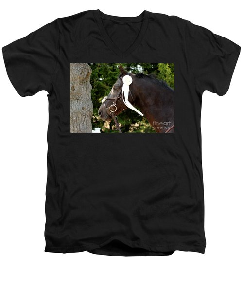 White Ribbon Men's V-Neck T-Shirt