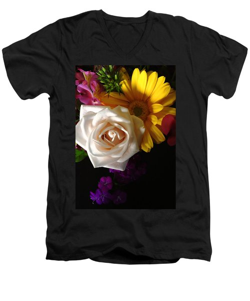 Men's V-Neck T-Shirt featuring the photograph White Rose by Meghan at FireBonnet Art