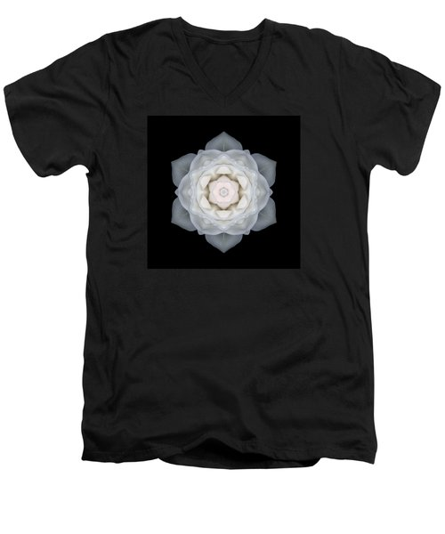 White Rose I Flower Mandala Men's V-Neck T-Shirt by David J Bookbinder