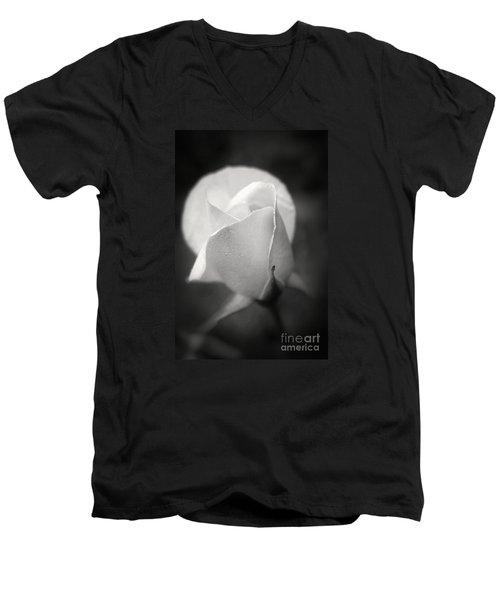 White Rose Moonlight Glow - Black And White Flower Photography Men's V-Neck T-Shirt