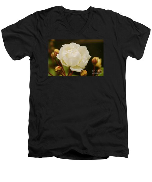 Men's V-Neck T-Shirt featuring the photograph White Rose 1 by Rudi Prott