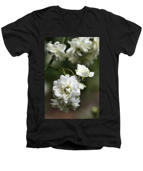 Men's V-Neck T-Shirt featuring the photograph White Roses by Joy Watson
