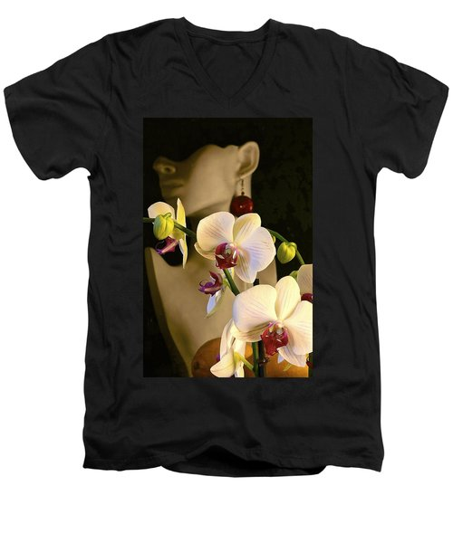 Men's V-Neck T-Shirt featuring the photograph White Shoulders by Elf Evans