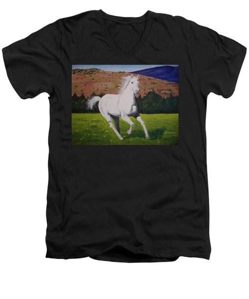 Men's V-Neck T-Shirt featuring the painting White Stallion by Norm Starks