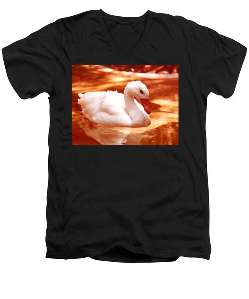 Men's V-Neck T-Shirt featuring the photograph White Water Swan Beauty by Belinda Lee