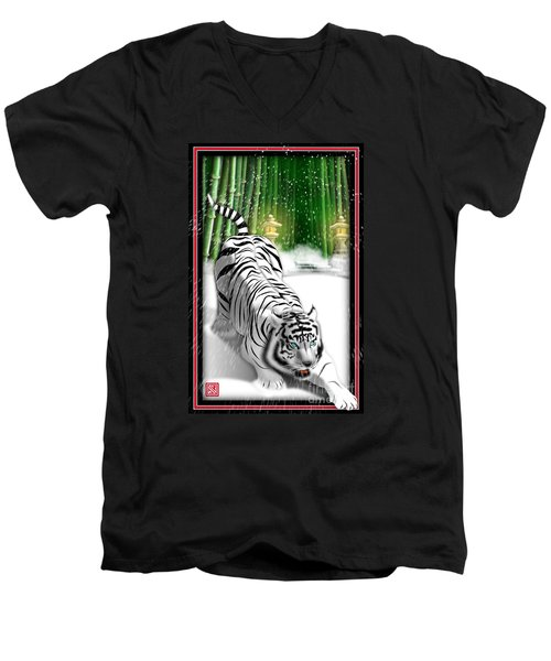 White Tiger Guardian Men's V-Neck T-Shirt by John Wills