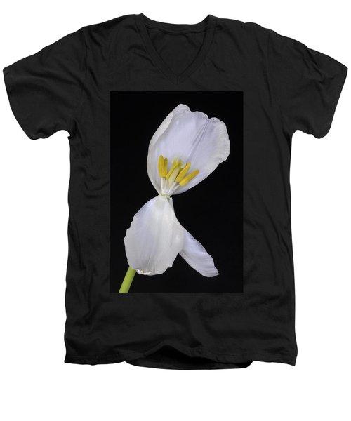 White Tulip On Black Men's V-Neck T-Shirt