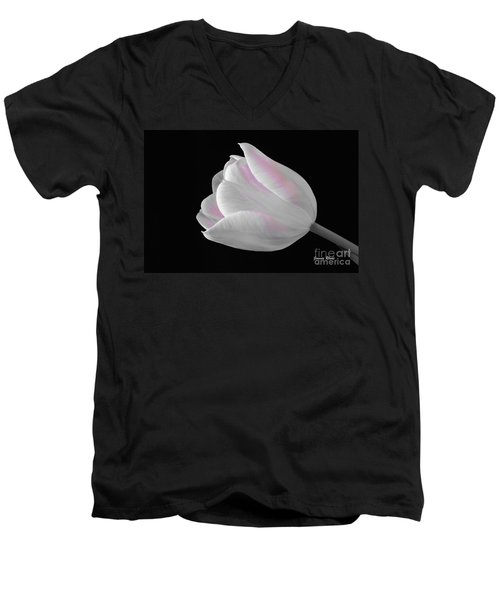 Men's V-Neck T-Shirt featuring the digital art White Tulip With Pink by Jeannie Rhode