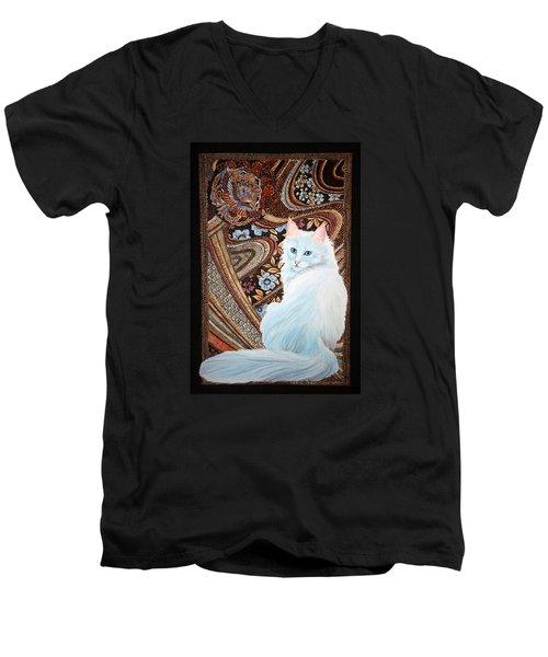 White Turkish Angora Men's V-Neck T-Shirt