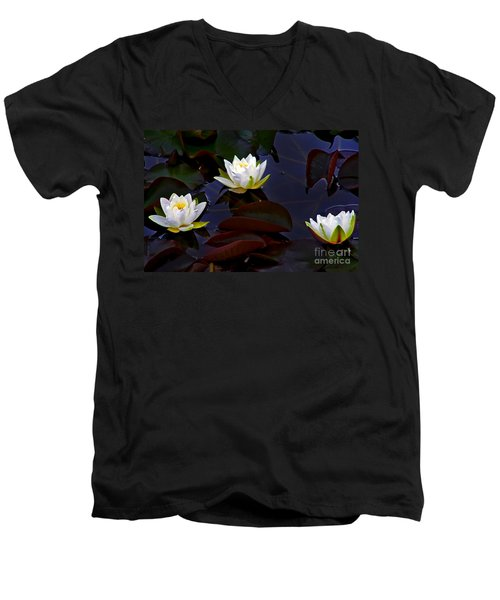 Men's V-Neck T-Shirt featuring the photograph White Water Lilies by Nina Ficur Feenan