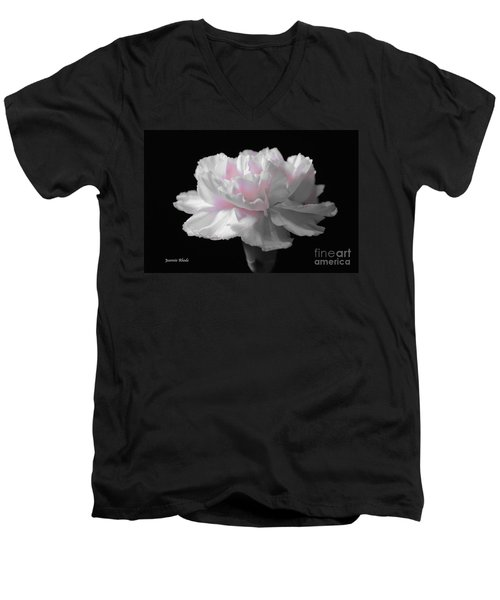 Men's V-Neck T-Shirt featuring the digital art White With Pink Carnation by Jeannie Rhode