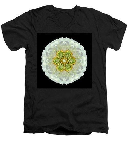 White Zinnia Elegans V Flower Mandala Men's V-Neck T-Shirt