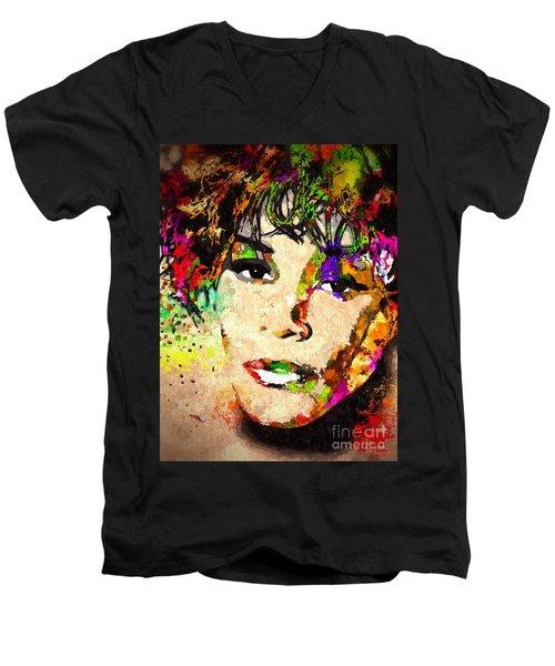 Whitney Houston Men's V-Neck T-Shirt by Daniel Janda